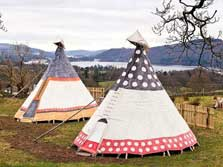 image of tipis at Windermere in the Lake District