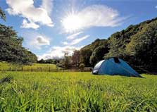 image of a tent in a field at the YHA Patterdale campsite in the Lake District