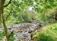 image of the stream at the Lake District campsites at Borrowdale