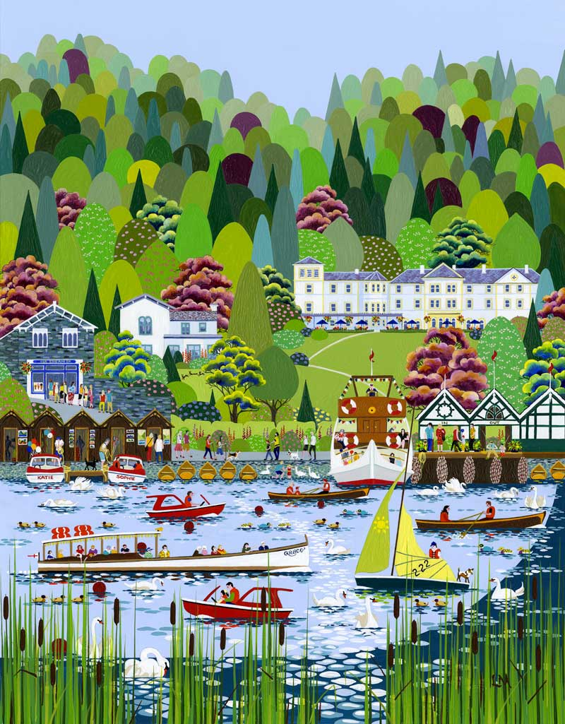 image of a painting of bowness on windermere by Linda Mellin for a exhibition in the Lake District