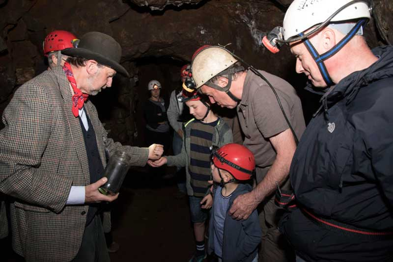 image of visitors at a nenthead mine tour event in cumbria