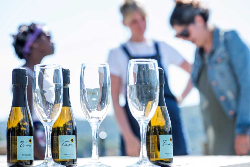 image of prosecco glasses at a lake district event in windermere