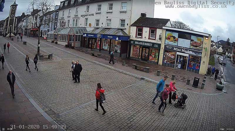 image of a screenshot taken from the webcam in Keswick of people in the Keswick Market Square on Brexit Day January 31st 2020