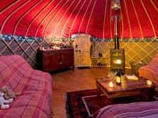 image of the inside of a glamping yurt in the Lake District near Keswick