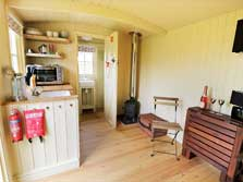image of in interior or a shepherd's hut for glamping in the Lake District northern fringe