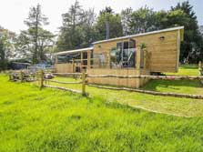 image of a luxury ensuite Shepherd's Hut for Glamping in the Lake District northen fringe