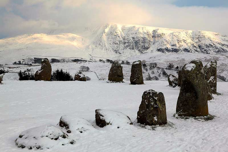 image of Castlerigg Stone Circle covered in snow in the Lake District in Cumbria