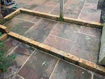 image of sandstone steps and patio laid by Dave Bell Keswick gardening services