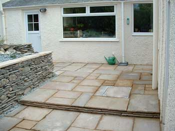 image of a newly laid patio in a Keswick garden laid by Dave Bell Keswick gardening services