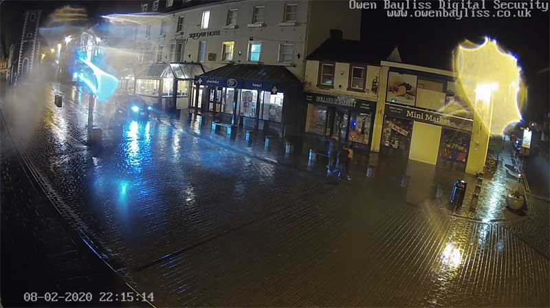 image of a rainy Keswick Market Square during storm Ciara February 9th 2020 taken from the Keswick webcam