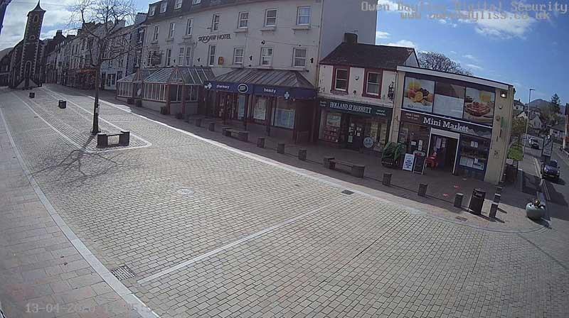image of an empty Keswick Market Square during the 2020 covid-19 coronavirus crisis in the Lake District, Cumbria and the UK